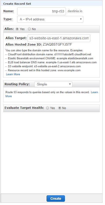 Configure Route 53 for a S3 endpoint